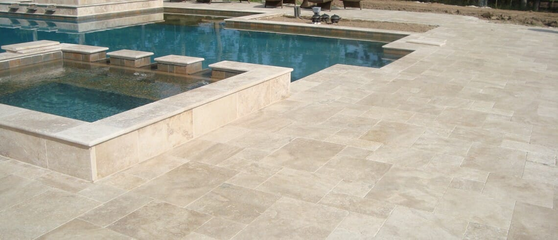 pool coping travertine
