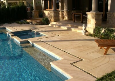 TEAKWOOD SANDSTONE POOL COPING AND MATCHING PAVERS