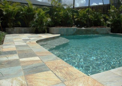 QUARTZITE POOL COPING AND MATCHING POOL PAVERS