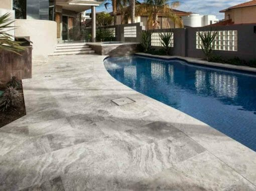 Silver Travertine Pool Coping