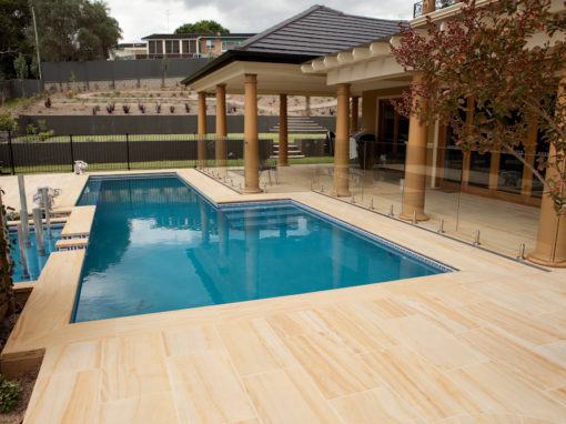 Teakwood Sandstone Pool Coping