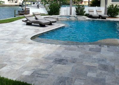 silver travertine outdoor pavers and coping