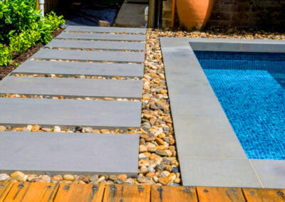 harkaway sawn and lightly honed Bluestone Pool Coping Tiles with a drop face