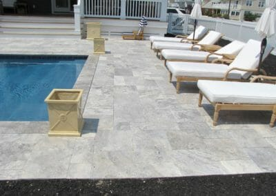 Silver French Pattern Unfilled and Tumbled Travertine Outdoor pavers Harkaway Bluestone Coping Tiles