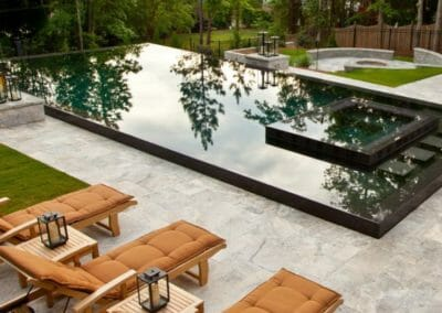 Silver French Pattern Unfilled and Tumbled Travertine Outdoor Pool