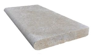Bullnosed Travertine Pool Coping Tile in Ivory colour
