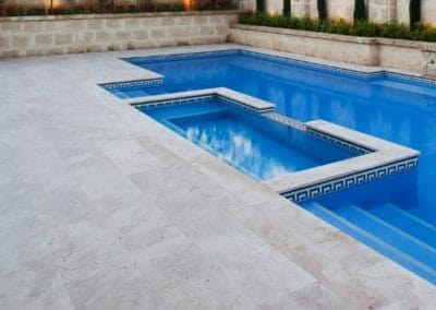 Ivory Travertine pool coping tiles and pool pavers