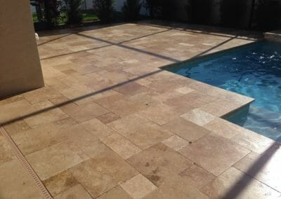 Noce French Pattern Unfilled and Tumbled Travertine Outdoor pavers