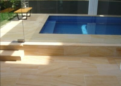 Sandstone, Teakwood Pool Coping Bullnose Steps and Paving