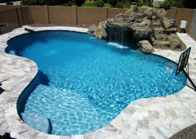 Silver French Pattern Travertine Unfilled & Tumbled around pool