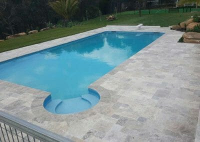 Silver French Pattern Traverine Unfilled & Tumbled Pool Pavers and Coping Tiles