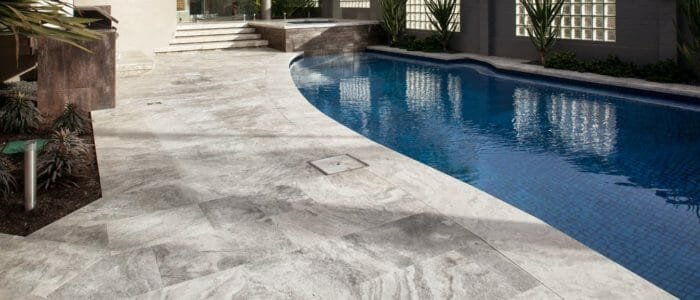 silver travertine outdoors