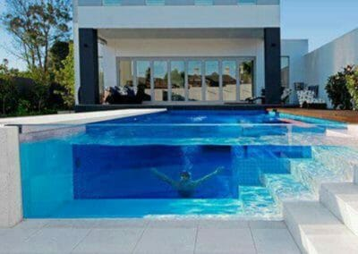 Shell White Limestone pavers outdoors around pool