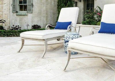 shell White travertine unfilled and tumbled outdoor pavers