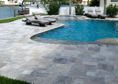 Silver French Pattern Unfilled and Tumbled Travertine Outdoor pavers
