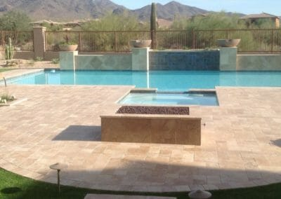 French Pattern Unfilled and Tumbled Noce Travertine Outdoor pavers