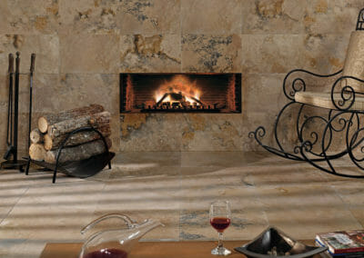 Antique travertine tiles indoors on wall