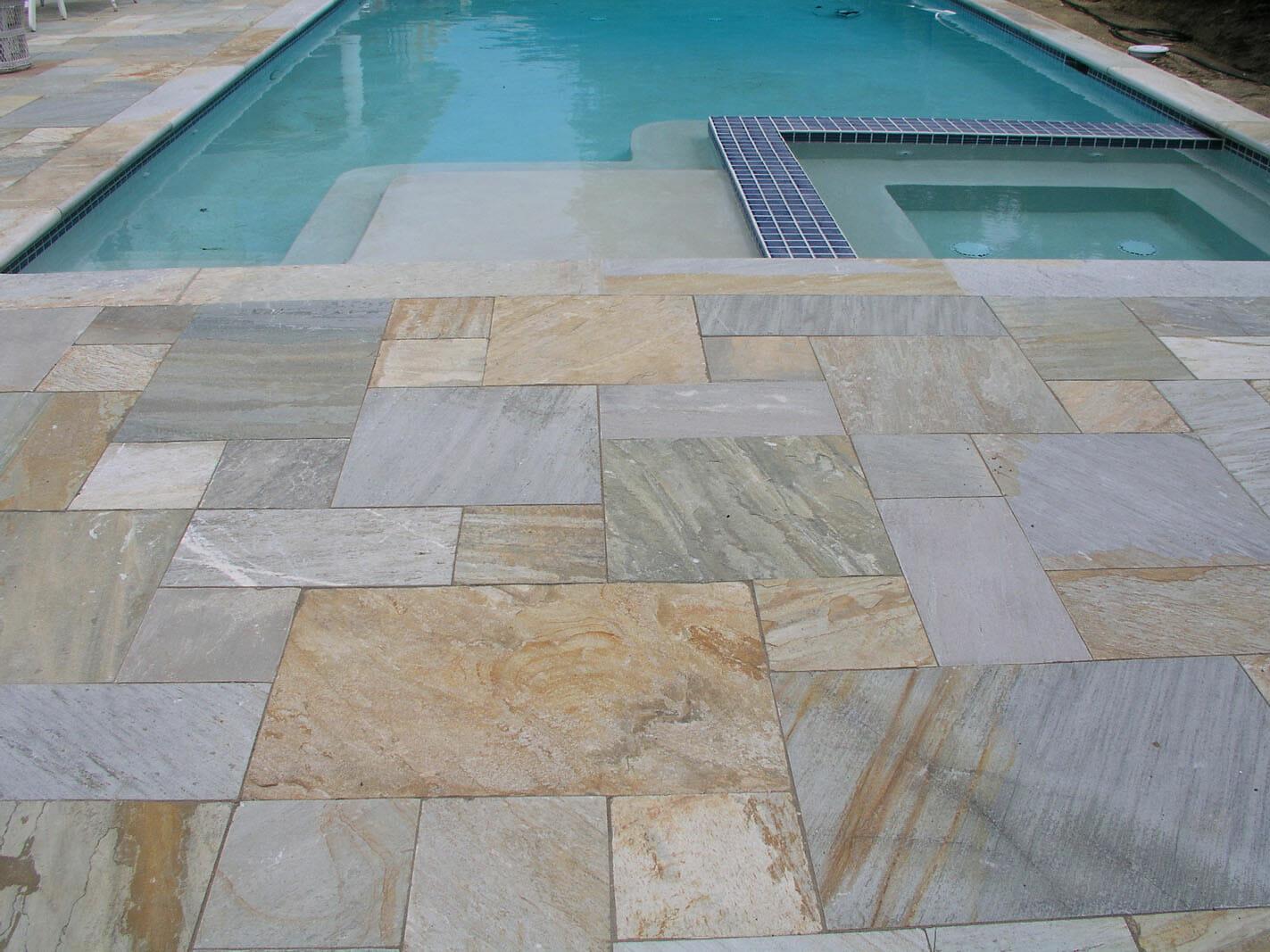 Golden Quartzite Bullnose Coping Tile Natural Pool
