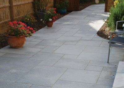 Sandblasted Raven Grey granite outdoor tiles